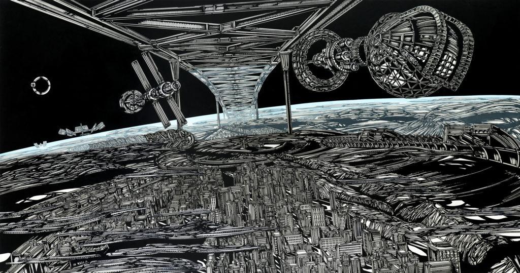 entroforming upon a globe 8,  acrylic ink and acrylic on aluminium, 210x100cm, 2016